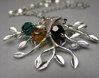 Family Tree necklace,  Birthstones, Personalized tree, Gift for Mother-in-Law, Mum,  Birthday Gift, New, Expectant Mommy