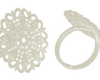 4 Silver Plated Filigree Metal Ring Blanks Bases . Thin Band . adjustable . fin0254