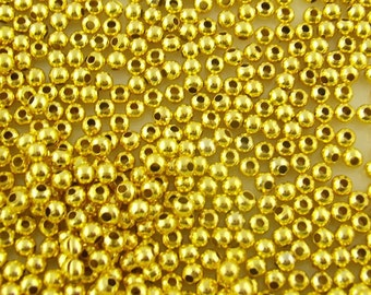2000 Gold Plated Smooth Round Ball Spacer Beads . 2.4mm  bme0055