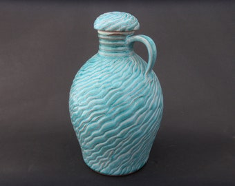 Pottery Whiskey Decanter - Ceramic Turquoise Jug - Whiskey Bottle
