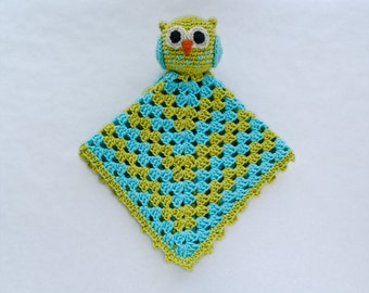 Owl Lovey / Security Blanket - PDF Crochet Pattern - Instant Download - Blankie Baby Blanket
