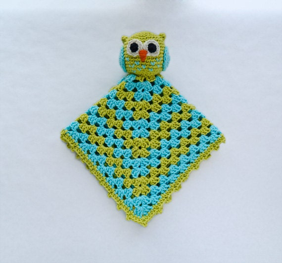 Instant Download - PDF Crochet Pattern - Owl Security Blanket - Text instructions and SYMBOL CHART instructions