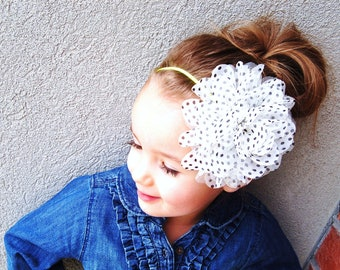 XL Chiffon Polka Dot Collection on Skinny Elastic - Holidays, Christmas, baby girl woman child  newborn headband