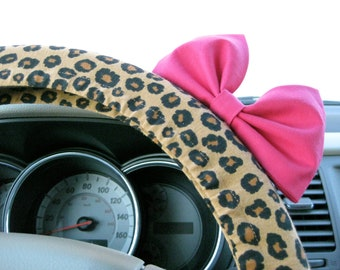 Steering Wheel Cover Bow, Cheetah Steering Wheel Cover with Hot Pink Bow BF11079