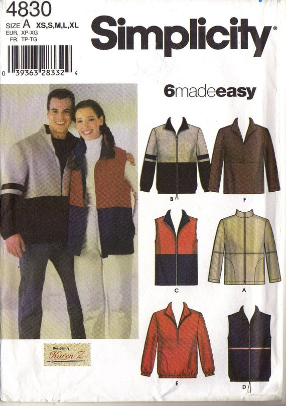 JACKET or VEST, NEW  - Men, Women, or Teen  Sizes Extra-Small through Extra-Large Simplicity  Easy Fleece