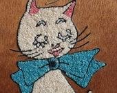 1960s Cat & Butterfly Gravel Art