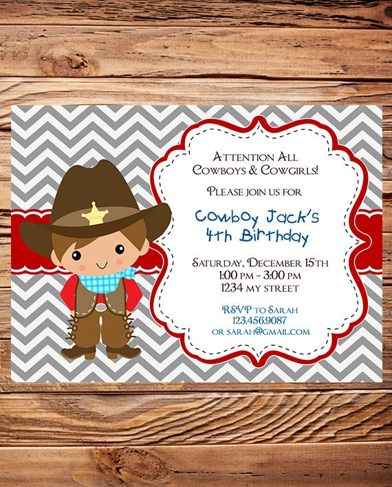 cowboy birthday party invitation cowgirl girl boy cowboy, Birthday invitations