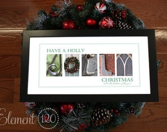 "Christmas Decorations Alphabet Photography Print: Modern Frame 10""x 20"""