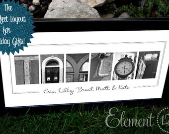 Perfect Custom Holiday, Christmas Gift - Alphabet Photography Name PERSONALIZED - 10x20 Modern Frame
