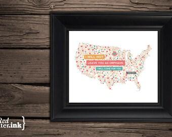 Adoption Wall Print - USA (4 color combinations)  John 14:18 - 8 x 10 Print