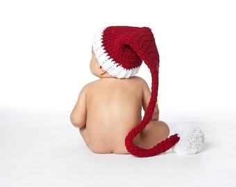 Santa Hat, Christmas Elf Hat, Christmas Hat, 12 Months Size Hat, Christmas Photo Prop, Santa Elf Hat, Toddler Elf Hat, Infant Holiday Hat
