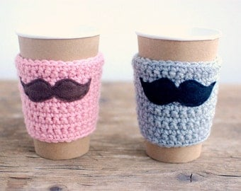 Coffee Cup Cozy, Crochet Coffee Sleeve, Reusable Coffee Cozy, His and Hers, Mustache by The Cozy Project