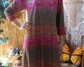 Vintage 70s  Long Multi Color Space Dye Dress Sz  M-L