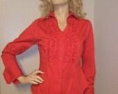 Vintage  80's Gloria Vanderbuilt Shirt Red with Tuxedo style  Sz medium