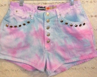 Vintage High Waisted TIE  Dyed  Denim Shorts - Studded Waist 29  inches--Button FLY