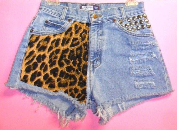 Vintage High Waisted denim shorts -----Leopard  and Studs---Waist   27   inches  ---Ready to Ship