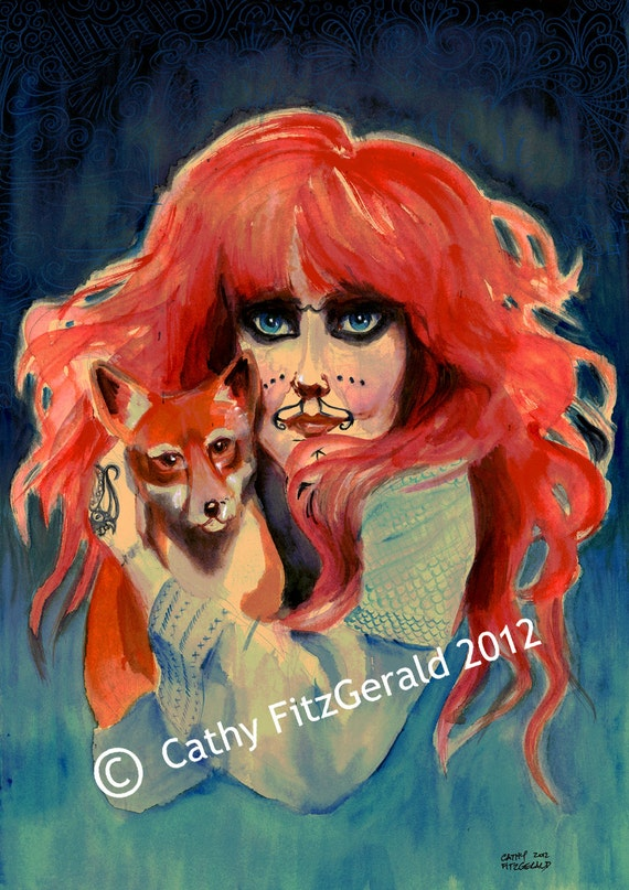 A3 Vali Myers Tattooed Woman with Fox Art Print Cathy FitzGerald