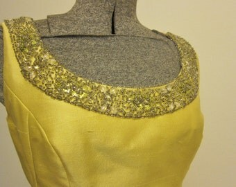 Chartreuse formal gown 1960s long dress
