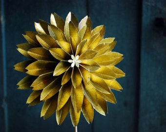 Paper Flower, Golden  Wedding Anniversary Gift , Gold Dahlias, Paper Flower on a stem, Origami Flower Ornament