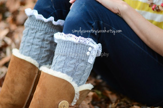Cable Gray - Leg warmers with knit lace trim & buttons, legwarmers