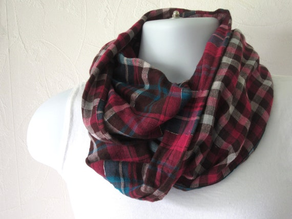 Cotton Plaid Infinity Scarf Double Sided Fabric in Fuchsia, Brown Teal Fall Fashion Scarf for Men and Women