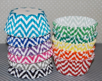 Chevron cupcake liners - 40/60 Ct. - baking cups muffin cups standard size grease proof cupcake cups cupcake wrappers - YOU PICK COLORS