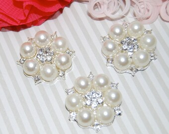 "3 pcs - Crystal Pearl embellishment flat back  - 1"" silver rhinestone pearl 26mm  - bridal wedding accessories vintage button - Annabel RB14"