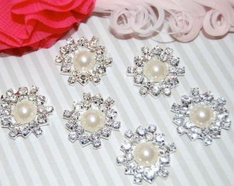 6 rhinestone pearl button Crystal pearl flower centers buttons flat back  22mm - embellishment  accent metal component RB63