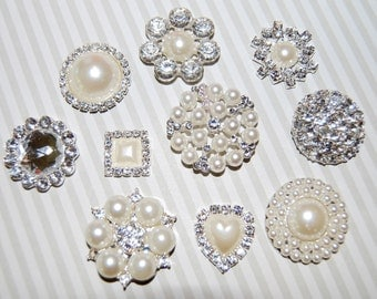 Crystal Pearl rhinestone embellishment accent flat back (10 pcs assorted mix)  bridal wedding accessories vintage button flower centers