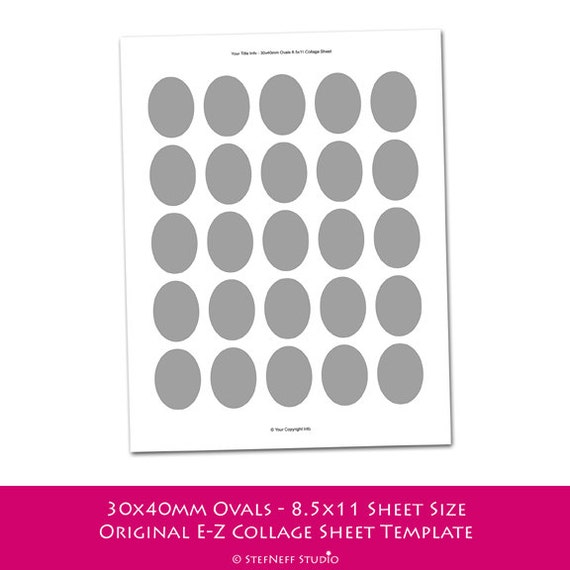 INSTANT DOWNLOAD - Make Your Own Collage Sheets with an E-Z Collage Sheet Template - 30x40mm Ovals - 8.5x11