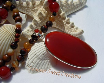 Carnelian Necklace and Earring Set