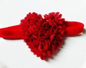 Red CHRISTMAS HOLIDAY Shabby Chic Heart of Roses Infant Toddler Girls Headband