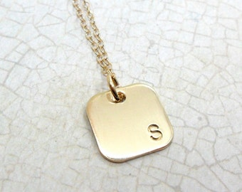 Gold Initial Necklace | Gold Fill Jewelry | Monogram Jewelry | Initial Jewelry | Custom | Personalized | Block Font | Rounded Square