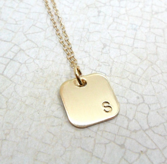 Gold Monogram Necklace / Gold Initial Necklace / Square Pendant / Simple Necklace / Square Monogram / Block Font / Layering Necklace