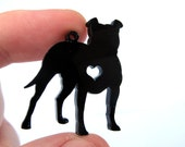 Pit Bull Dog Charms, Qty. 4, Laser cut black acrylic bits