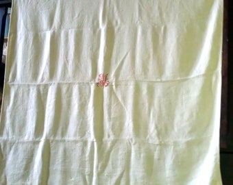 Antique French hemp and cotton monogrammed tablecloth