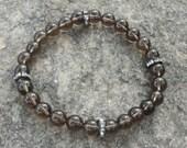 Men's Bracelet:  Smokey Quartz  with Crystal Accents