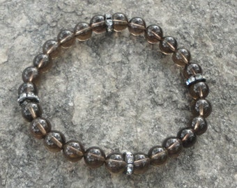 Men's Bracelet:  Smokey Quartz  with Crystal Accents