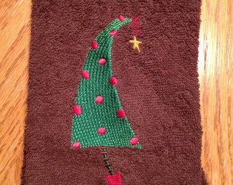 Retro Christmas Tree towel with red balls Can be used as a  Kitchen or Bath hand towel