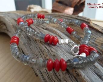 Labradorite & Coral Necklace/Halskette mit Labradorit und Korallen