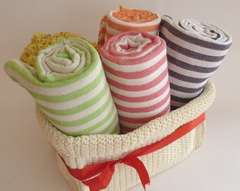 Free Shipment, set of 4 Turkish Towels, Cotton, Bath & Body, Peshtemal, summer, light brown, lilac, red, baby blue, mother's day