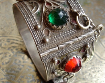 Moroccan very tarnished enamel jewel bracelet cuff with coin dangles