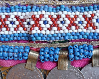 Kuchi  turquoise bead wide string with large real coins