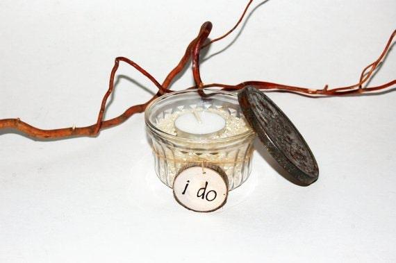 RESERVED FOR LISA - Rustic Candleholders - Glass Jelly Jars - Set of 6 -  - Unique Vintage Keepsake