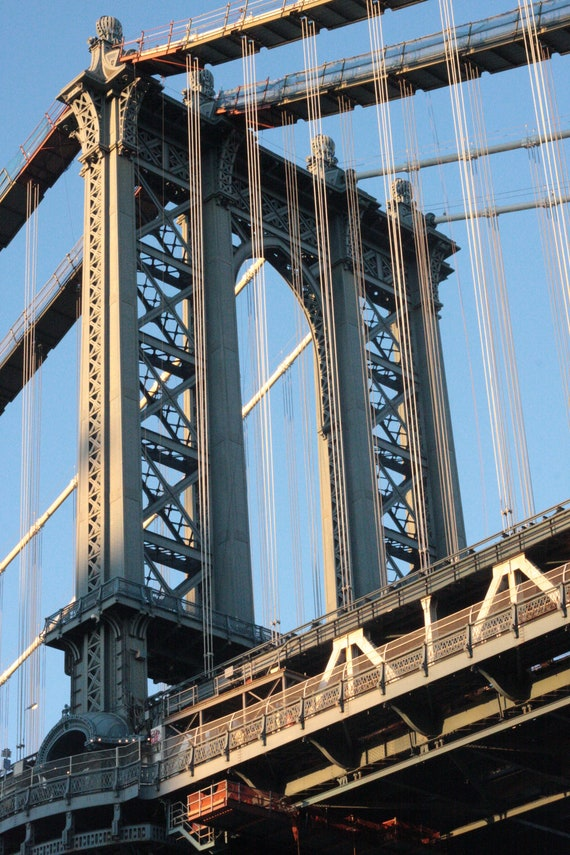Wall Decor: Manhattan Bridge, NYC - 8x10 Print Matted to 11x14 with Black Mat