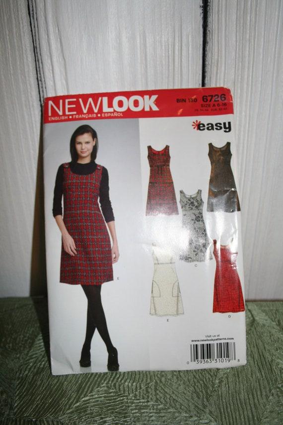 UNCUT New Look 6726 EASY Hot Teacher Jumper A-Line Dress with Empire Waist--Five Option Pattern Size 6-16