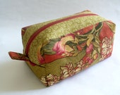 Boxy zipper pouch for cosmetics, gadgets in rust and olive green floral cotton