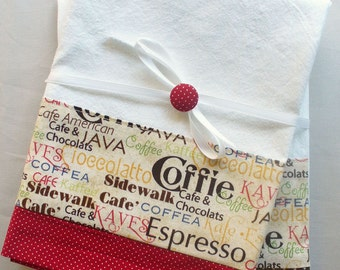 Kitchen towels with coffee and chocolate pattern cotton fabric in brown and red accent - set of two flour sack towels