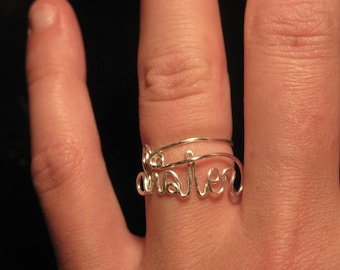 Wire Wrapped SISTER Spelled MADE to ORDER Ring