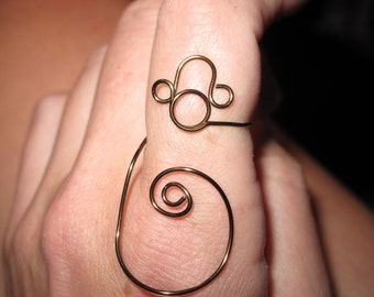 Wire Wrapped Monkey Head and Tail MADE to ORDER Adjustable Ring